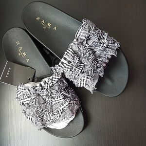 Zara Gingham Slides size 37 or 39